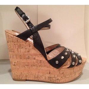Michael Kors wedge studded sandals black 9.5
